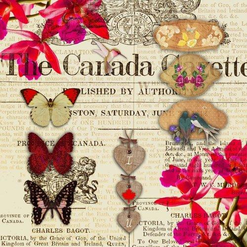 Preisvergleich Produktbild 20 Servietten Saskia - Zeitungsartikel Vintage / Schmetterlinge / Zeitung 33x33cm