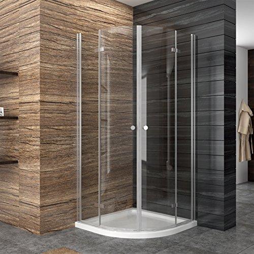 Preisvergleich Produktbild Falttür Duschkabine Runddusche 90x90cm eckeinstieg Duschabtrennung ESG Glas Viertelkreis mit Duschtasse