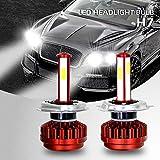 Faro dell'automobile, OXOQO 2 Packs Led Car Headlight Kit di conversione per fari a LED bianco freddo 8000lm 8000 Wh dei proiettori, angolo di apertura a 360°, 6000 K (H7)