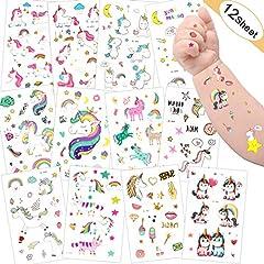 Idea Regalo - Tatuaggio Bambino,Sporgo Tatuaggi Temporanei per Bambini, Adesivi per Unicorno Tatuaggi Temporanei,Regali per Bambini Unicorno,Tatuaggi per Unicorno Impermeabili Regali Compleanno per Ragazze Ragazzi