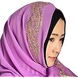 5d0e40d03dc Hougood Hijab Femme Musulmane Dubai Hijabs Mousseline de soie Long Hijabs  Paillettes Ladies Wrap Hijab Foulard