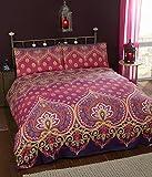traditionellen ethnischen Steppdecke & 1 Kissenbezug für Einzelbett Bettwäsche-Set Pink & Lila