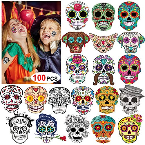 a688e652a5081 Howaf 100 x Day of the Dead Tattoos Halloween Temporary Tattoos Sugar Skull  Black Skeleton Roses