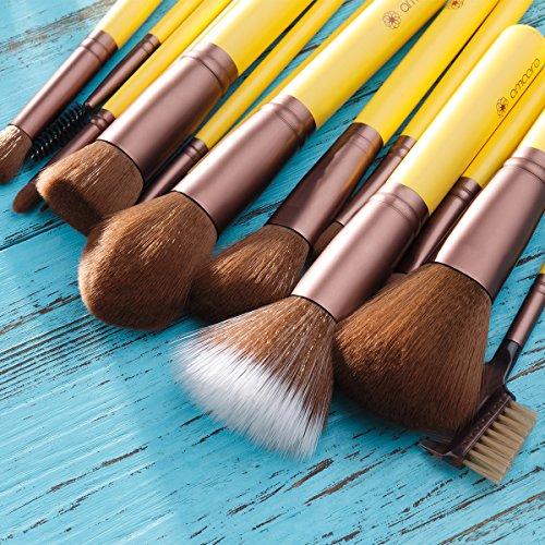 Make Up Pinsel, amoore 15pcs Pinselset Make Up Pinsel Sets Foundation Pinsel Make Up Buersten Gelb