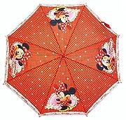 Simpatico ombrello automatico per bambina Minnie rosso. Un indispensabile per che le piccole mouse non siano bagnate quando piove. Ci piace: Il contorno bianco mouse che conferisce un lato so chic.Dimensioni: 82cm