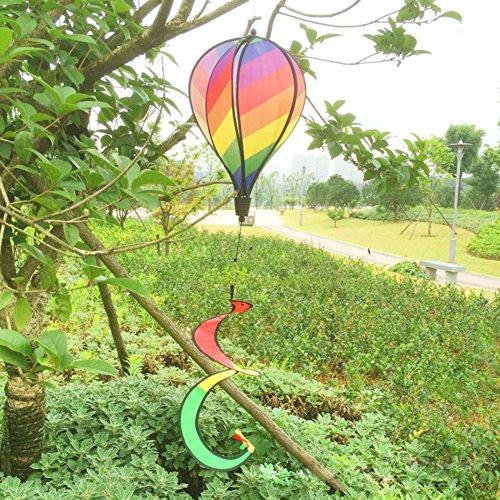 dairyshop gestreift Regenbogen Windsack Hot Air Balloon Wind Spinner Garden Yard Outdoor Decor