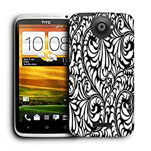 Snoogg White Leaves Printed Protective Phone Back Case Cover For HTC One X