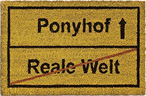 Robuste & Moderne Kokos Fußmatte 60cm x 40cm mit rutschfester PVC Unterseite ~~ REALE WELT -> PONYHOF ~~ Fußabtreter Gelb / Braun Schmutzfangmatte Fußabstreifer Kokosmatte Sauberlaufmatte