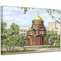 """Bilderdepot24 Foto su tela Stampa artistica riproduzione Aquarell """"Nevsky Cathedral"""" 70 x 50 cm - Già montato sul telaio, Stampa artistica intelaiata e pronta da appendere"""