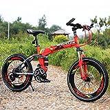YEARLY Kinderfahrrad, Schüler klappräder Lightweight Mountainbike Stoßdämpfer 21 Geschwindigkeit Klappräder-Rot 20inch
