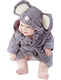 Newborn Baby Boy Girl Cute Animal Bathrobe Hooded Night-Robe Lovely Bathing Bath Towel Set Panda Elephant