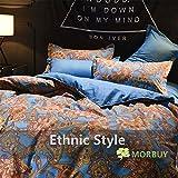 Morbuy Bettbezug Set, Böhmisch Klassisch Muster 3 Teilig Bettwäsche 135 x 200cm 100% Polyester Mikrofaser Boho Stil Gemütlich Printing Bettbezug-Set (Florid)