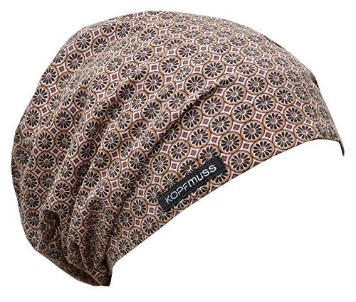 Kopfmuss - leichte, ungefütterte Sommermütze- L, blumenkette rosa/beige/braun