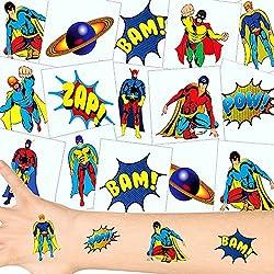German-Trendseller ® 36 x tatouages temporaires super-héros┃tatouages ephémères┃l'anniversaire d'enfant┃petit cadeau┃ motifs avec accessoires d'héros