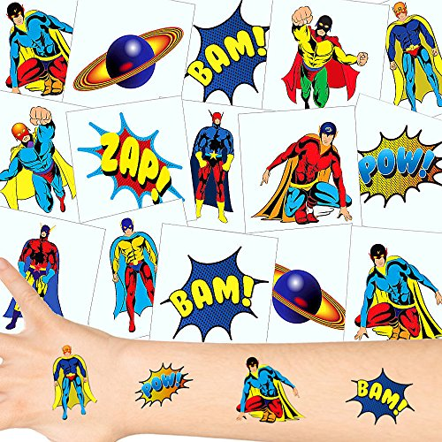 German Trendseller® - Kleine Super Heros Tattoos Set ┃ NEU ┃Super Helden Party ┃ Kindergeburtstag ┃ Mitgebsel ┃36 Tattoos
