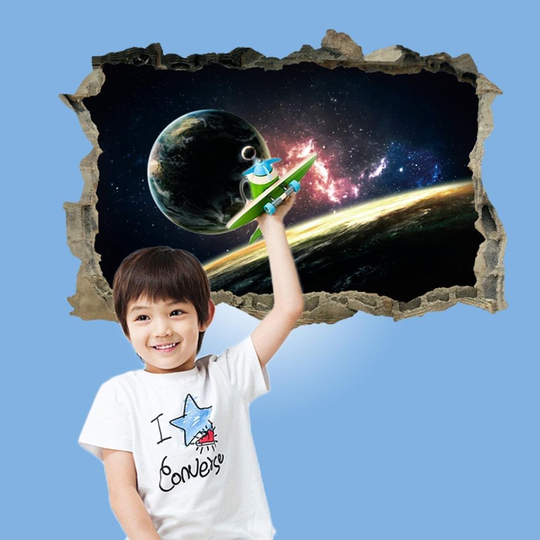 3D pegatinas de pared espacio cósmico de dibujos animados dañados – Saihui pegatinas de pared extraíbles murales para cuarto de niños decoración de la habitación