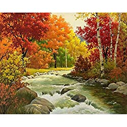 Prevently DIY 5D Diamond Painting, Spring Summer Autumn and Winter Scenery 5D Embroidery Paintings Rhinestone Pasted DIY Diamond Painting Cross Stitch Home Wall Decor (Colour C)