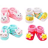 EIO® 100% Soft Cotton Fancy Cartoon Face Booties Socks (Random Design/Color)