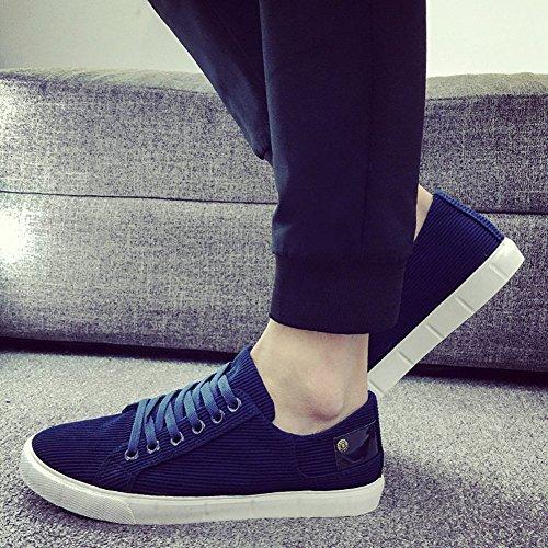 Herren Segeltuch Flache Sneaker Skateboard Schlichte Mokassins Lässige Slipper Mit Schnürsenkel Blau