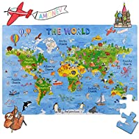 Amonev world map floor puzzles for both table and floor with extra thick pieces (World Map)