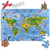 Amagenius Puzzle con Mappa del Mondo, Tavolo Che per Pavimento, con Pezzi Extra Spessi.