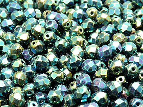 6 mm 40 Aqua Marine à facettes Lanterne Tchèque Perles De Verre