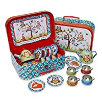 Lucy Locket Metal TEA SET & Carry Case Toy (14 Piece Tea Set for Children)