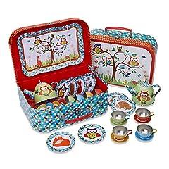 Idea Regalo - Lucy Locket Set da tè con animali del bosco (set cucina giocattolo, cucina bimbi, giochi cucina per bambini) (set da tè con 14 pezzi per bambini) Set da tè giocattolo rosso, blu e verde