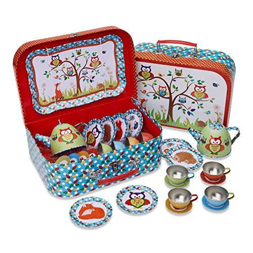 Waldtiere Teeservice aus Zinn mitt Koffer (14 Stck. Spielgeschirr) Rot, Blau, Grün Lucy Locket Teeservice