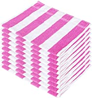 SHAMBHAVI 300 GSM 10 Piece Cotton Hand Towel Set - Pink & White