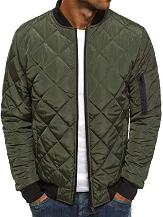 XWLY Men Jacket Without A Hood Spring and Autumn Warm Transition Jacket Regular Fit Comfortable Soft Thin and Light Zip Jacket with Pockets
