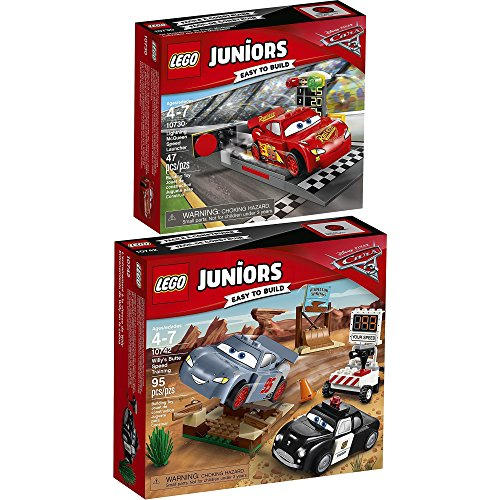 LEGO Juniors Disney Cars 2er Set 10730 10742 Lightning McQueens Beschleunigungsrampe + Rasante Trainingsrunden in der Teufelsschanze (Cars Disney Lego-sets)