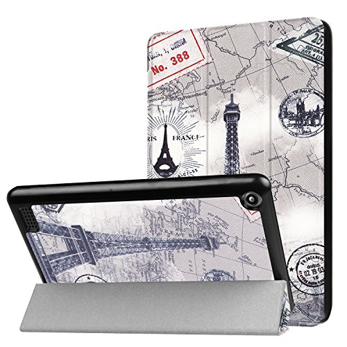 mazon Kindle New Fire 7 2017 Ultra Slim Cover Hardcase aufstellbar und Wake & Sleep Funktion + GRATIS Stylus Touch Pen ()