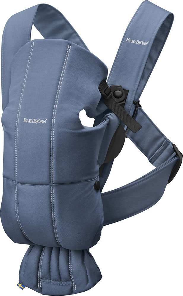 BABYBJÖRN Baby Carrier, Vintage Indigo Baby Bjorn Perfect first baby carrier for a newborn Small and easy to use BCI-certified cotton that is stretchy in the seat area and satin woven to make it super-soft and comfy 1