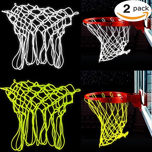 Bomach 2 Stück Basketball Net Glow in The Dark Basketballkorb Net Professional Heavy Duty Innen-Basketball Sports Luminous Rand Net Ersatz für Allwetter (Weiß und Grün) (Glow In The Dark-volleyball)