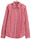 Damen Baumwolle Beiläufig Taste nach unten Revers Hals Plaid Kariert Hemd (US Size L, rot-Weiss)