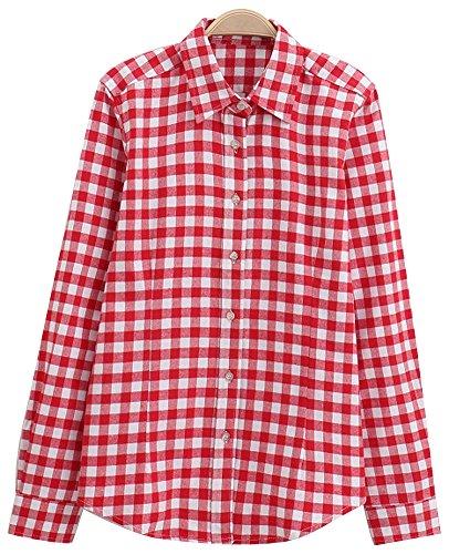 Damen Baumwolle Beiläufig Taste nach unten Revers Hals Plaid Kariert Hemd (US Size L, rot-Weiss) (Taste Unten Nach Damen Shirt)
