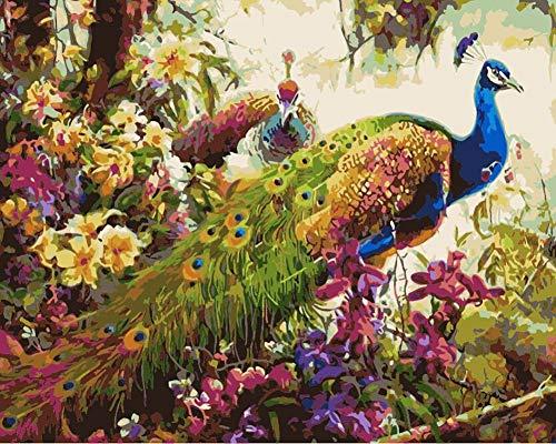 YEESAM ART DIY Ölgemälde Malen nach Zahlen Erwachsene Kinder, Pfau Wald Blumen Zahlenmalerei ab 5 Öl Wandkunst