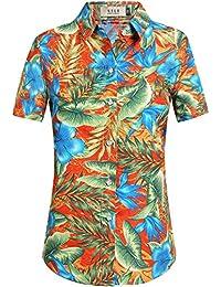 SSLR Women's Floral Hawaiian Aloha Tropical Blouse Button Down Shirt
