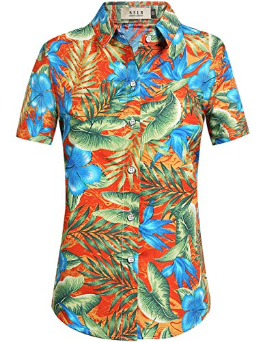 SSLR-Blusa-Mujer-Hawaiana-Manga-Corta-Camisa-Casual-Flores-Aloha-Tropical-X-Large-Naranja