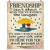 Freundschaft ist nicht über, die Sie bekannt, der längsten IT 'S WHO WALKED in Ihr Leben haben, sagte, ich bin hier für Sie und es bewiesen Inspirierende Wand Metall Schild retro Dekoration 15x 20cm