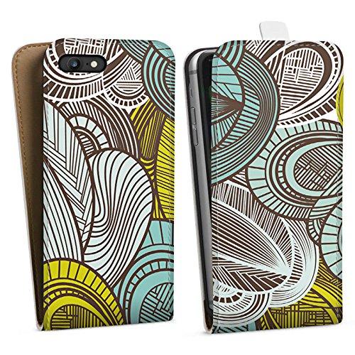 Apple iPhone X Silikon Hülle Case Schutzhülle Muster Blätter Bunt Downflip Tasche weiß