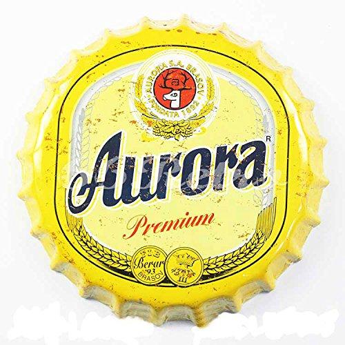 Aurora Premium Bier, rund Bier Flasche GAP, Metall blechschild, Wand Deko Schild, Dia 35cm von 66retro