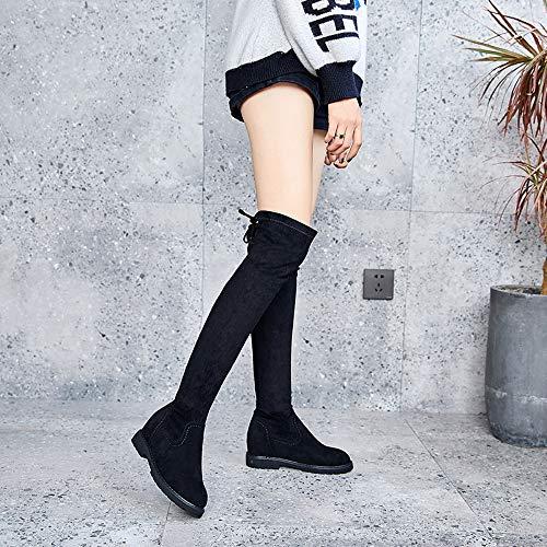 Shoe House Damen-Knöchel-Reitstiefel Hohe Stiefel Gebogen Elastische Low-Heel-Stiefel Größe 3-6,5,EU35/US4(M)/UK3 - Low Heel Reitstiefel