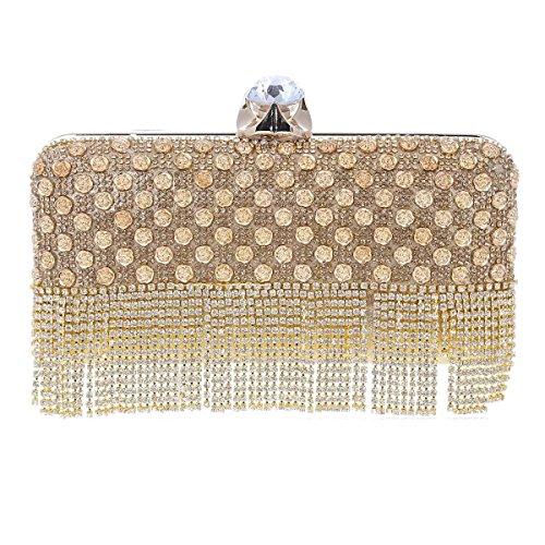 Damara® Damen Luxus Strass Quaste Handtasche Mit Blumen Gold