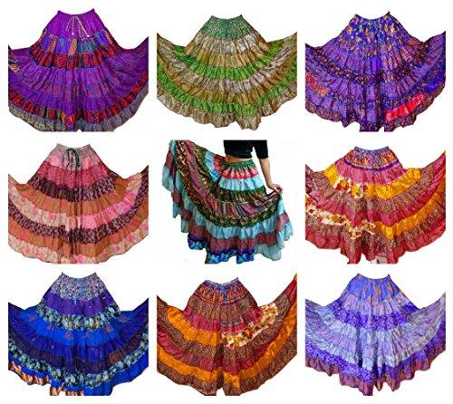 6,4 m Maxi-Rock, Seide-Mischgewebe, Einheitsgröße passend für S, M, L, XL Gr. Einheitsgröße, Pack of 5 (Gypsy Kostüm Frauen)
