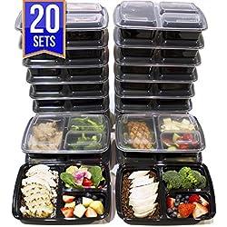 [Lot de 20] Boîtes alimentaires à 3 compartiments de 1.15L sans BPA – Conservation des aliments, réutilisable en plastique – Passe au Four à micro-ondes, lave-vaisselle avec couvercle hermétique