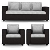 Woodcasa - Indiana Fabric 5 Seater 3+1+1 Sofa Set (Grey-Black)