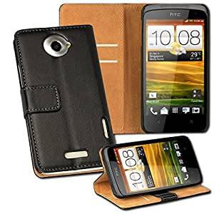 HTC One X/XL/Plus+ Smart Phone Wallet Case Leather Magnet Flip Cover Black+2 Free Screen Protectors By Casestyle®