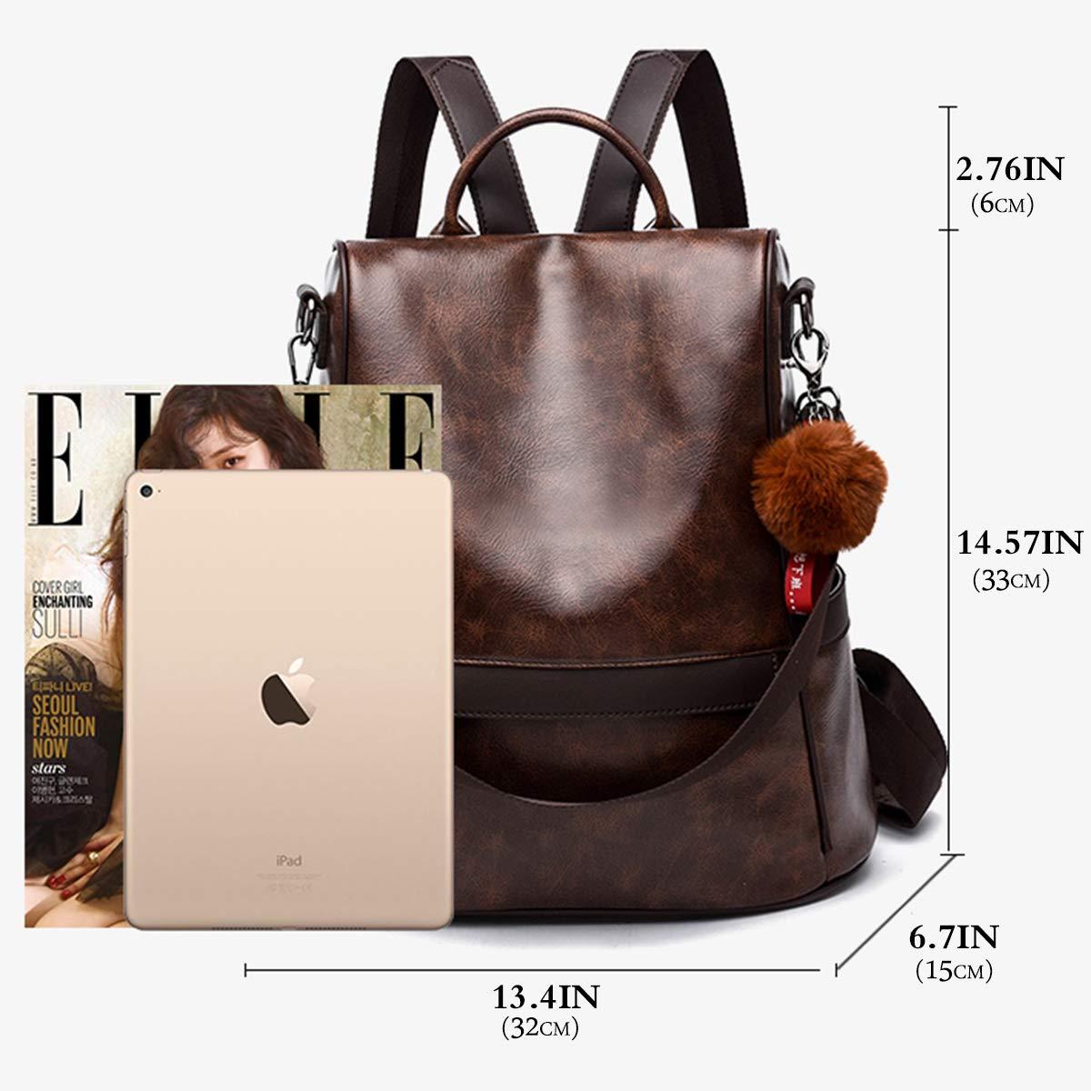 f71eecf3e Anti-robo Mujer Mochila de Cuero de pu mochila de Bolsa de mano Mochilas  Casual Bolsa de viaje Messenger Bag Backpack